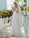 Romantic V Neck Tulle Wedding Dress With Appliques-Cream 4