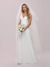 Romantic V Neck Tulle Wedding Dress With Appliques-Cream 6