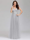 Elegant Deep Double V Neck Tulle Evening Dress With Appliques-Grey 6