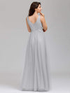 Elegant Deep Double V Neck Tulle Evening Dress With Appliques-Grey 7