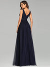 Elegant Deep Double V Neck Tulle Evening Dress With Appliques-Navy Blue 2