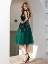 Shiny Knee Length Deep V Neck Cocktail Dresses For Party-Dark Green 2