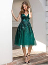 Shiny Knee Length Deep V Neck Cocktail Dresses For Party-Dark Green 3