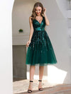 Shiny Knee Length Deep V Neck Cocktail Dresses For Party-Dark Green 4