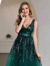 Shiny Knee Length Deep V Neck Cocktail Dresses For Party-Dark Green 5