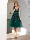 Shiny Knee Length Deep V Neck Cocktail Dresses For Party-Dark Green 1