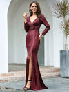 Shiny V Neck Long Sleeve Sequin Evening Party Dress-Burgundy 4