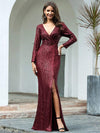 Shiny V Neck Long Sleeve Sequin Evening Party Dress-Burgundy 1