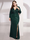 Shiny V Neck Long Sleeve Sequin Evening Party Dress-Dark Green 8