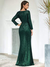 Shiny V Neck Long Sleeve Sequin Evening Party Dress-Dark Green 2