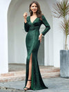 Shiny V Neck Long Sleeve Sequin Evening Party Dress-Dark Green 4