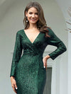 Shiny V Neck Long Sleeve Sequin Evening Party Dress-Dark Green 5