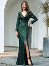 Shiny V Neck Long Sleeve Sequin Evening Party Dress-Dark Green 1