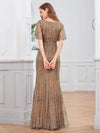 Deep V Neck Shiny Fishtail Evening Dress With Flutter Sleeves-Coffee 2