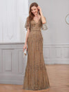 Deep V Neck Shiny Fishtail Evening Dress With Flutter Sleeves-Coffee 1
