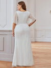 Deep V Neck Shiny Fishtail Evening Dress With Flutter Sleeves-Cream 7