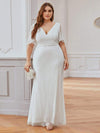 Deep V Neck Shiny Fishtail Evening Dress With Flutter Sleeves-Cream 6
