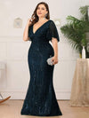 Plus Size Deep V Neck Shiny Fishtail Evening Dresses-Dusty Navy 3