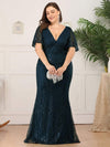 Plus Size Deep V Neck Shiny Fishtail Evening Dresses-Dusty Navy 4