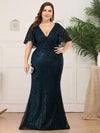 Deep V Neck Shiny Fishtail Evening Dress With Flutter Sleeves-Dusty Navy 6