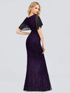 Deep V Neck Shiny Fishtail Evening Dress With Flutter Sleeves-Dark Purple 2