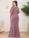 Deep V Neck Shiny Fishtail Evening Dress With Flutter Sleeves-Purple Orchid 7