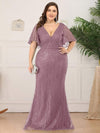 Deep V Neck Shiny Fishtail Evening Dress With Flutter Sleeves-Purple Orchid 6