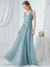 Double V-Neck Embroidered Wedding Dress-Dusty Blue 3