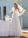 Elegant Maxi Lace Wedding Dress With Ruffle Sleeves-White 1