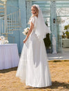 Elegant Maxi Lace Wedding Dress With Ruffle Sleeves-White 2