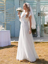 Elegant Maxi Lace Wedding Dress With Ruffle Sleeves-White 3
