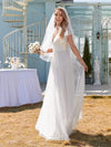 Elegant Maxi Lace Wedding Dress With Ruffle Sleeves-White 4
