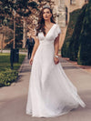 Elegant Maxi Lace Wedding Dress With Ruffle Sleeves-White 6