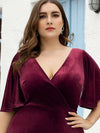 Elegant Double V Neck Velvet Party Dress-Burgundy 8