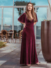 Elegant Double V Neck Velvet Party Dress-Burgundy 1