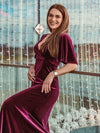 Elegant Double V Neck Velvet Party Dress-Burgundy 3