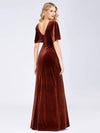 Elegant Double V Neck Velvet Party Dress-Brick Red 2