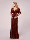 Elegant Double V Neck Velvet Maternity Dresses-Brick Red 5