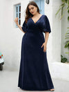 Elegant Double V Neck Velvet Party Dress-Navy Blue 4
