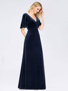 Elegant Double V Neck Velvet Party Dress-Navy Blue 1