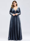 Women's V-Neck Velvet Floor Length Evening Dress-Dusty Navy 1