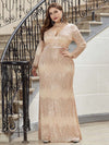 Plus Size Women'S Deep V-Neck Sequin Evening Dress With Long Sleeve-Rose Gold 3