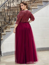 Women'S Fashion V-Neck Floor Length Evening Dress-Burgundy 7