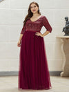Plus Size Women'S Fashion V-Neck Floor Length Evening Dress-Burgundy 1