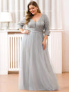 Women'S Fashion V-Neck Floor Length Evening Dress-Grey 11