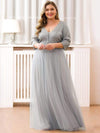 Women'S Fashion V-Neck Floor Length Evening Dress-Grey 12