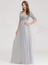Women'S Fashion V-Neck Floor Length Evening Dress-Grey 7
