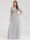 Women'S Fashion V-Neck Floor Length Evening Dress-Grey 8