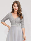 Women'S Fashion V-Neck Floor Length Evening Dress-Grey 9