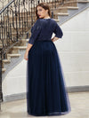 Plus Size Women'S Fashion V-Neck Floor Length Evening Dress-Navy Blue 2